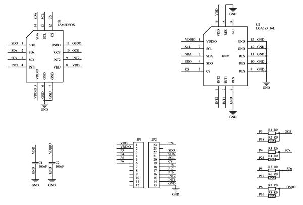 Схема принципиальная электрическая платы STEVAL-MKI197V1